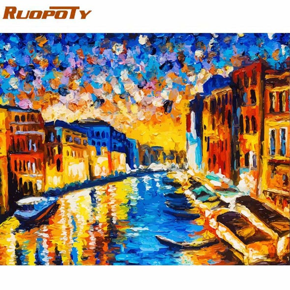 RUOPOTY Frame Romantic Paris DIY Painting By Numbers Landscape Acrylic Paint By Numbers For Home Wall Art Picture Gift 60x75cm