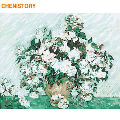 CHENISTORY Frame DIY Painting By Numbers Flowers Landscape Painting Calligraphy Wall Art Canvas Painting For Home Decor Gift