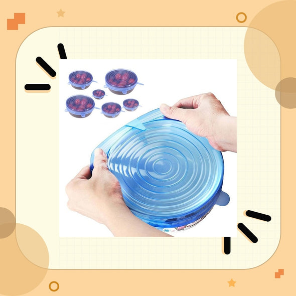 Universal 6 Pcs Reusable Silicone Food Fresh Pot Lid Bowl Covers  Stretch Lids Wrap Stretchable Preservative Film Cooking