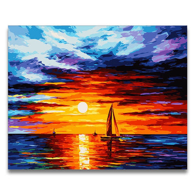 CHENISTORY Frame Landscape DIY Painting By Numbers Kit Modern Wall Art Picture By Numbers Acrylic Canvas Painting For Home Decor