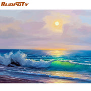 RUOPOTY Frame DIY Painting By Numbers Landscape Picture By Numbers Handpainted Oil Painting Unique Gift For Home Decors 60x75cm