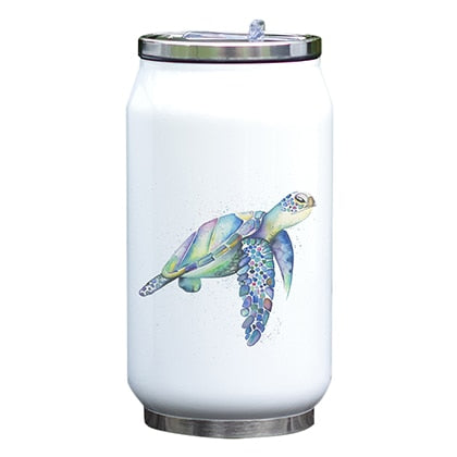 Kids Insulated Water Bottle Sea Turtle Watercolor Printing New Drawing Designed Stainless Steel Thermos Vacuum Unique Gift
