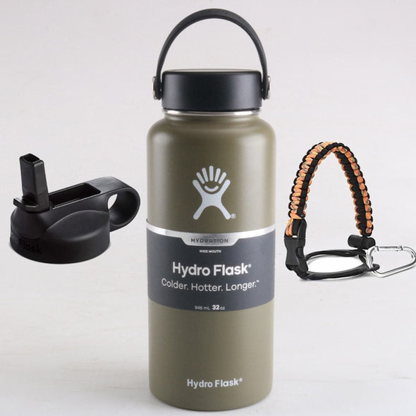 Hydro Flask Water Bottle Stainless Steel Bottle Vacuum Insulated Wide Mouth Hydroflask with Flex Cap And Straw Lid 18/32/40oz