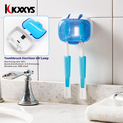 Toothbrush Holder Sterilizer For 2 Teeth Brushes UV Lamp Disinfection Box Wall-Mounted Toothbrush Holder Health Dental Care