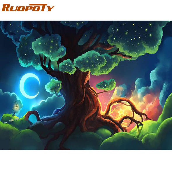 RUOPOTY Frame 60x75cm Trees Diy Painting By Numbers Kit Modern Wall Art Picture By Number Acrylic Paint On Canvas For Home Decor