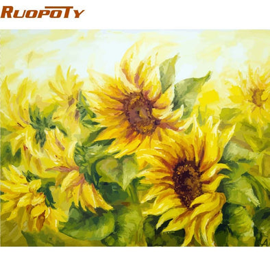 RUOPOTY Frame Picture DIY Painting By Numbers Kit Flowers Landscape Modern Wall Art Picture Canvas By Numbers For Home Decor Art