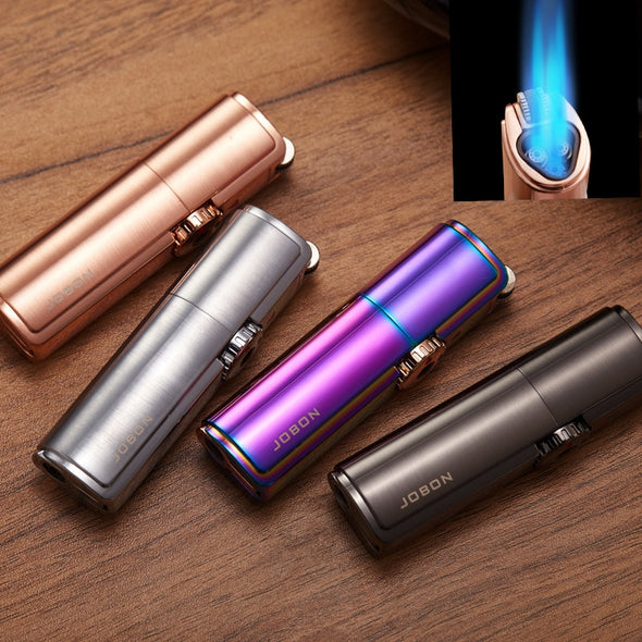 Jobon Brand Grinding Wheel Compact Butane Jet Lighter Gas Torch Turbo Lighter Windproof Metal Cigar Lighter GAS Fixed fire