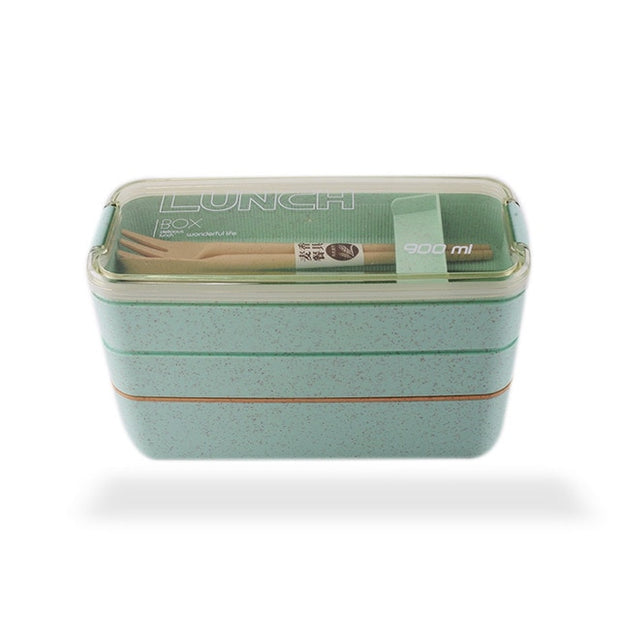 900ml 3 Layers Lunch Box Eco-Friendly Wheat Straw Material Bento Box Microwavable Dinnerware Food Container Leakproof Lunchbox