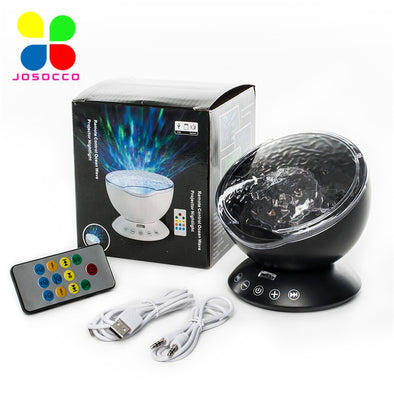JUSOCCO Ocean Wave Projector Drop Shipping Night Light Music Player Speaker LED Remote Control TF Cards Aurora Master Projection