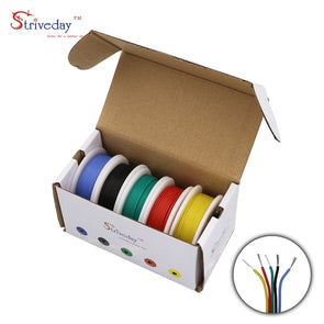 30/28/26/24/22/20/18awg Flexible Silicone Wire Cable 5 color Mix box 1 box 2 package Electrical Wire Copper Line DIY