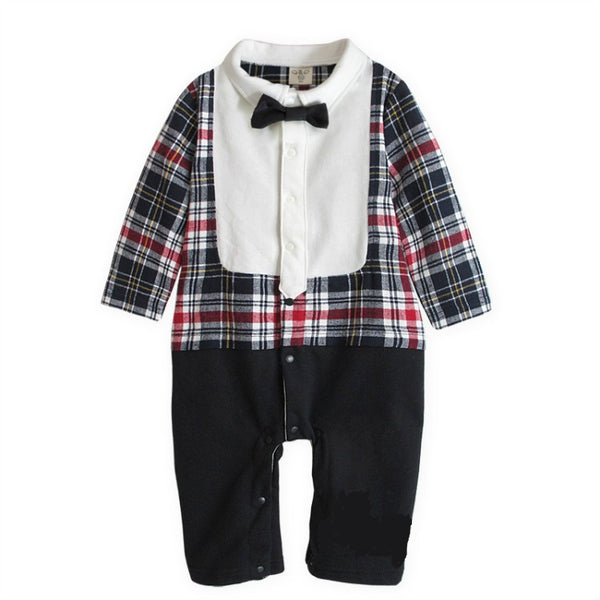 Japanese Style Check Romper with Bow Tie