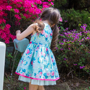 Floral Print Blue Girl Dress