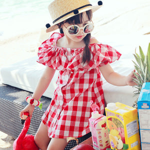 Red Check Off shoulder dress
