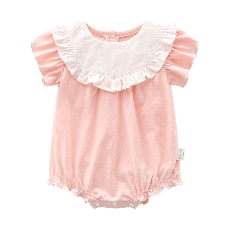 Cotton Baby Girl Bubble Romper - Pink ( Ready stock)