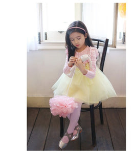 Girls Pink Check and Yellow Tulle Tutu Dress