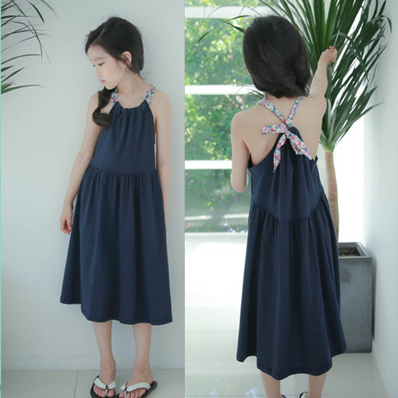 Girls Floral Straps Cotton Dress - Navy