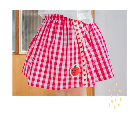 Cotton Strawberry  Check Skirts for Girls - Pink