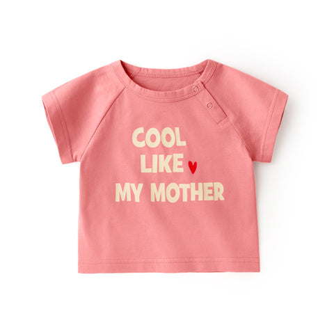Pink Cotton T-shirt ( I Love Mother)