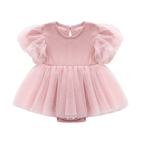 Baby Girl Layer TuTu Romper Dress with bubble sleeves- Pink ( Ready stock)