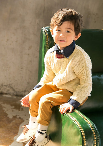 Boys Ivory Lightweight Cotton Sweater