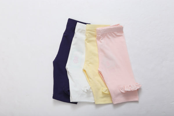 Girl Short Jersey Leggings ( Navy/ Yellow/ Pink)