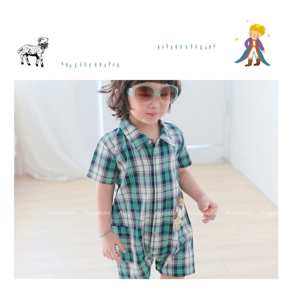 Green Check Shirt Dog Embroidery Romper