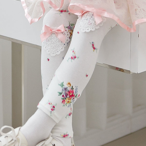 Girls Cotton Floral Leggings
