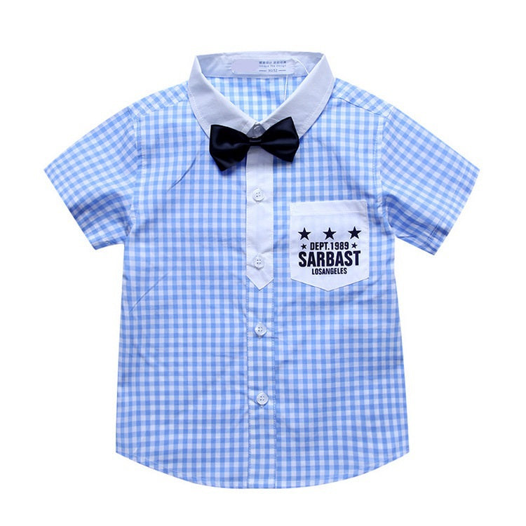 Short Sleeve Bow Tie Checked Shirt, Blue