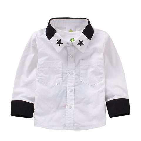 Boy Star Collar Two-Tone Shirt- White