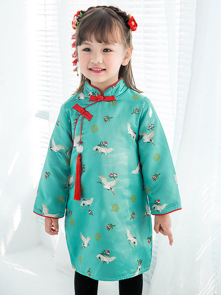 Turquoise Crane Print Padded Dress ( UK stock)