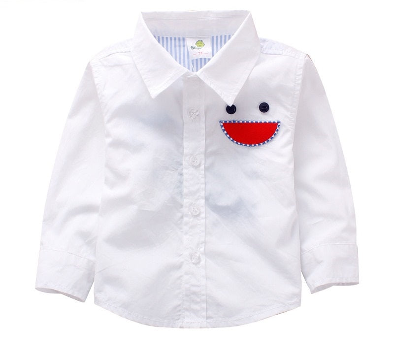 Boy Embroidered Smiling Face Shirt- White
