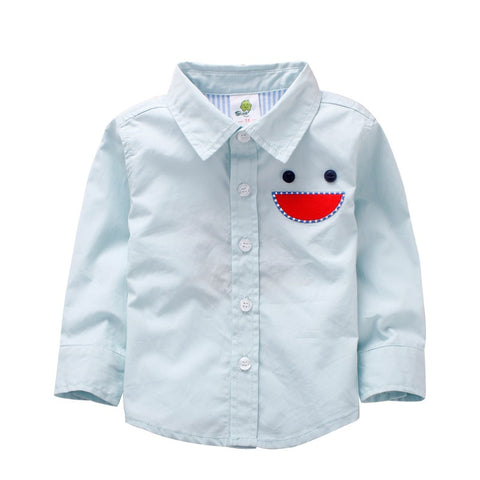 Boy Embroidered Smiling Face Shirt- Green Blue