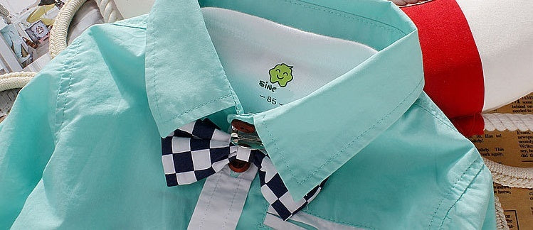 Boys Green Shirt with Check Bow Tie