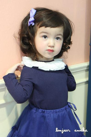 Luxury Girls Blue Ruffle Blouse (Made in Korea )