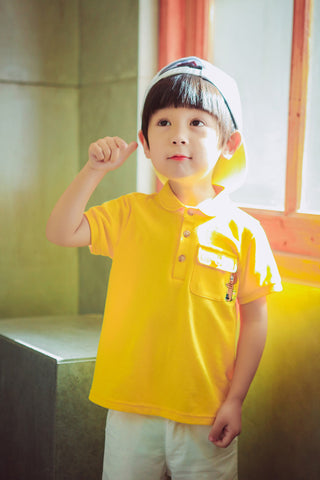 Bear Polo T-shirt- Yellow