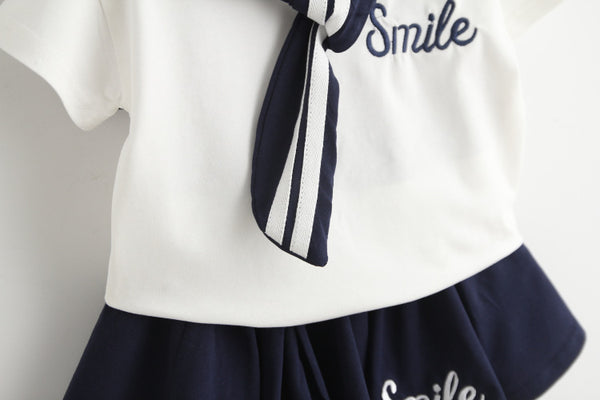 Sailor Girl Top and Skirt Set - White/ Navy