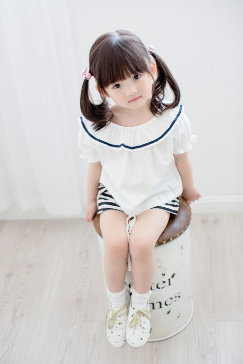Girls Sailor style Top & Short Set- White