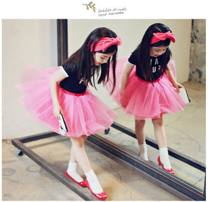 Have Fun Cotton & Pink Tulle Tutu Girl Dress