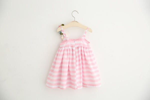Flower Corsage Pink Stripe Dress