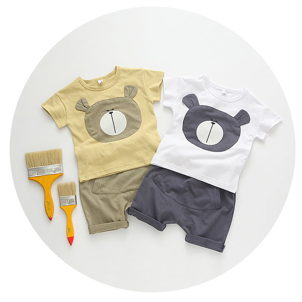Boys Cotton Bear Top & Short Set - Beige