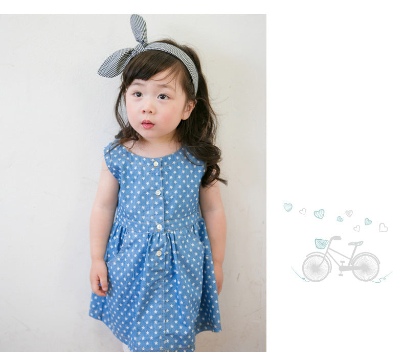 Girls Blue Cotton Star Dress
