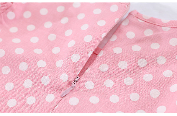 Girls' Off-the-Shoulder Pink Polka Dot Dress