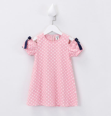 Pink Cotton Off Shoulder Polka Dot Girl Dress