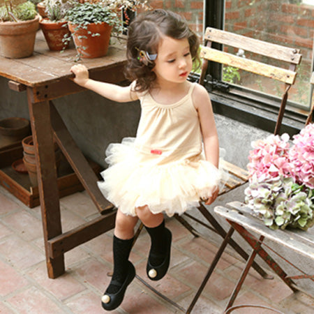 Beige Cotton & Tulle Tutu Girl Dress
