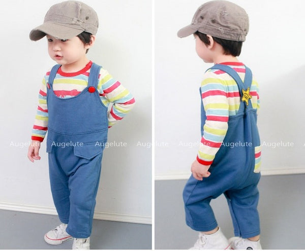 Blue Dungaree & Good Guy Striped Romper Set
