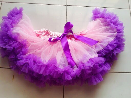 Adjustable Waist Baby TuTu Skirt for 0-2 Years-  Pink/Purple