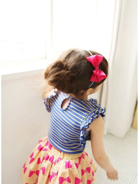 Blue Striped Top & Pink Bows Print Skirt Set