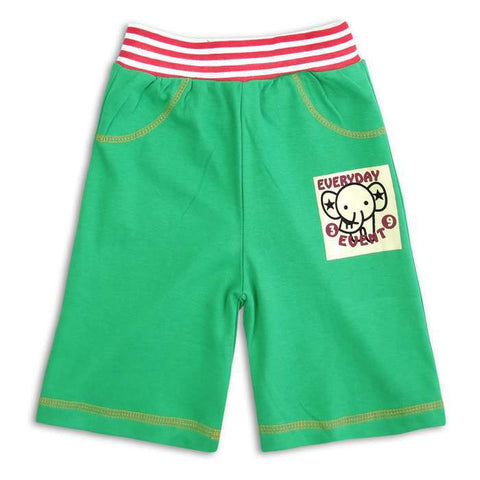Green Cute Elephant Quarter Pant