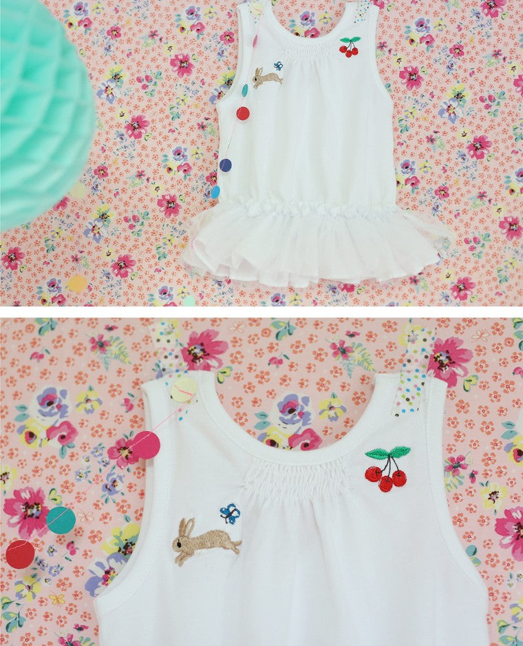 Cherry Bunny Embroidered Tulle Blouse (White)