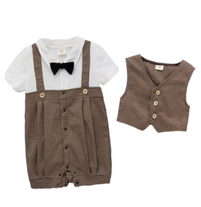 Japanese Style Check Romper with Bow Tie & Waistcoat Set